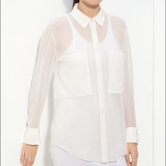 """T by Alexander Wang White Silk Blouse.  Medium NWT T by Alexander Wang Silk Blouse.  Sheer, flows silk shapes an essential white shirt topped with opaque panels & trimmed w/ a neat collar and French cuffs.  Approx.!length from shoulder is 28"""".  Medium NWT Alexander Wang Tops Blouses"""