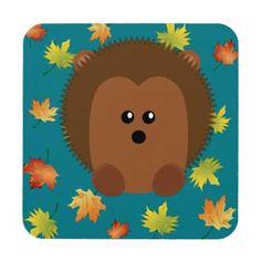 Autumn Hedgehog Drink Coaster - autumn gifts templates diy customize