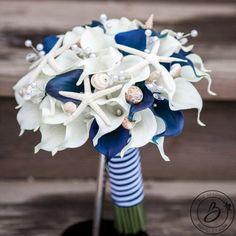 Nautical Wedding Bouquet Seashell Navy Blue Calla