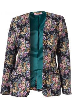 Floral Tapestry Blazer   Madison Plus Select