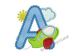 Airplane Letter A Applique Embroidery Design for by EmbroideryLand
