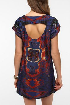 Staring at Stars Silky Mirrored Photo Print Dress
