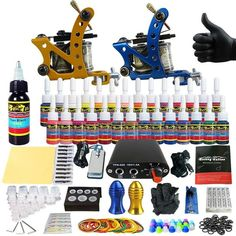 Tattoo Sets Machine for Liner Shader Clip Cord 2 Guns New Arrival Kit Light Weight Practice Skin 28 Color Ink Sigment