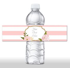 INSTANT DOWNLOAD Water Bottle Labels Pink Floral Glitter Water Bottle by JanePaperie