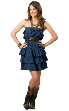 Boom Boom Jeans® Ladies Denim Strapless Belted Layered Dress | Cavender's Boot City