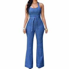 de8a56dfa391 Paixpays Women Denim Jeans Casual Long Pant Jumpsuit Sleeveless Halter  Romper Playsuit Denim Romper