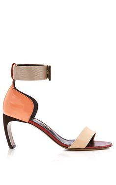 Shop Suede Patent and Metallic Leather Sandals by Nicholas Kirkwood