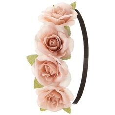Charlotte Russe Rose Flower Crown Head Wrap (505 RUB) ❤ liked on Polyvore featuring accessories, hair accessories, hair, headbands, hats, blush, leaves garland, garland headband, flower crown headband and floral crown