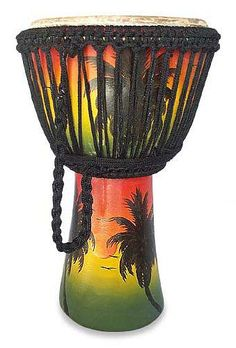 Wood djembe drum, 'Tropical Sunset Vibrations' by NOVICA