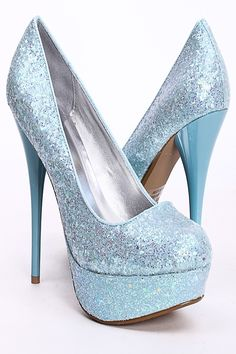 Light Blue Sparkly Heels | Tsaa Heel