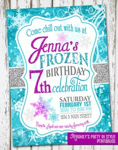 Frozen Birthday Invite by Meghilys on Etsy, $10.00 / frozen / disney frozen invite / frozen invitation / snowflake invite