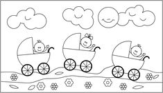 * In de wagen! Hand Quilting Patterns, Baby Patterns, Baby Applique, Baby Footprints, Cross Stitch Baby, Quilt Baby, Digi Stamps, Copics, Baby Cards