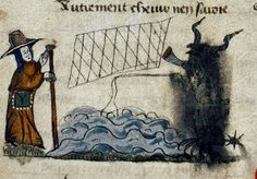 Pilgrim meets Satan fishing for Souls in Sea. French c.1400 detail. bodl_Douce300 by tony harrison, via Flickr