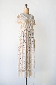 vintage 1970s ecru cream crochet boho dress