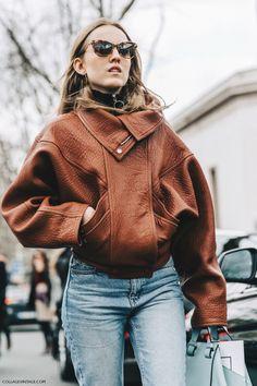 Pfw Paris Fashion Week Fall 2016 Street Style Collage Vintage Alexandra Carl Leather Jacket Celine Boots