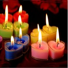 9pcs /lot  Heart-shaped candles red pink blue purple yellow creative wedding candles smoke-free creative marry small candle