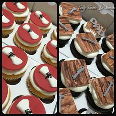 Graduation and Father Day cupcakes #diploma #tools #vanilla #chocolate #buttercream