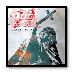 Cuadro con marco negro de aluminio para disco de vinilo / Ozzy Osbourne - Crazy Train / #OzzyOsbourne