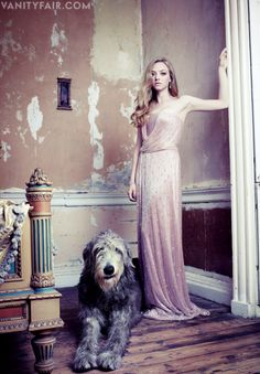Amanda Seyfried & unidentified Irish wolfhound in Vanity Fair