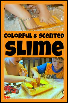 Colorful, Scented SLIME Recipe {Fun with Oobleck!} -- A  colorful, delicious-smelling twist on a favorite science experiment!  Pretend play crept in there, too.  :)