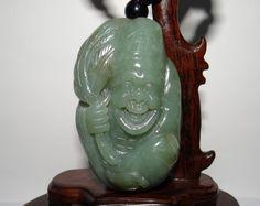 """3"""" China Certified Nature Nephrite Hetian Jade Buddha Jih Hand Carved Pendants"""