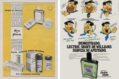Jabón Heno de Pravia de 1963 y Loción de afeitado Lectric Shave de Williams, 1977 Hanna Barbera, Vintage Cartoon, Spanish, Nostalgia, The Past, Advertising, Identity, Memes, Shaving Cream