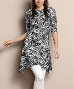 Another great find on #zulily! Black & White Feather Sidetail Tunic - Plus #zulilyfinds