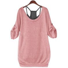 Stylish Scoop Neck Half Sleeve Lace Up Hollow Out T Shirt   Solid... (27 BAM) ❤ liked on Polyvore featuring tops, lace up tank top, lace up tank, elbow length sleeve tops, scoop neck top and red tank top