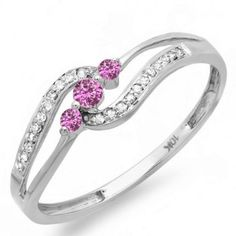10K White Gold Pink Sapphire And White Diamond 3 stone Engagement Promise Ring * See this awesome image  : Promise Rings