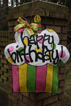 girly happy birthday cupcake burlap door hanger