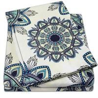 Embrace your excitement in the every day with the Ashley printed Sheet Set. This lively print is rooted in earthy tones with a soft green and pale-yellow background, teal Sweet Home Collection, Teal Accents, Comfy Bed, King Sheet Sets, Mandala Pattern, Yellow Background, Fun Prints, Bed Sheets