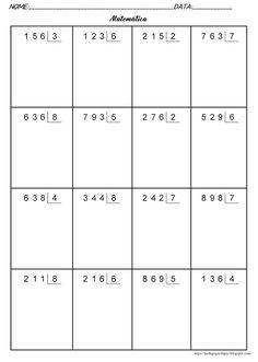 Pedagogas da paz: Continhas De Divisão - Folha Com Continhas Para Imprimir - ATIVIDADES DE DIVISÃO 4O ANO PARA IMPRIMIR Fourth Grade Math, First Grade Math, Teaching Kids, Kids Learning, Multiplication Chart, 2nd Grade Math Worksheets, Math For Kids, English Lessons, Math Lessons