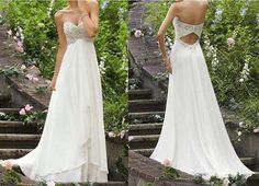 Short Wedding Dress 2015 Wedding Dresses Empire White Beaded Sequined Sweetheart Sleeveless Beach Wedding Dresses Chiffon Sweep Train Bridal Gowns With Pleats Two Piece Wedding Dresses From Newdeve, $107.29| Dhgate.Com