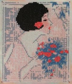 0 point de croix femme et un bouquet de fleurs - cross stitch lady and a bunch of flowers