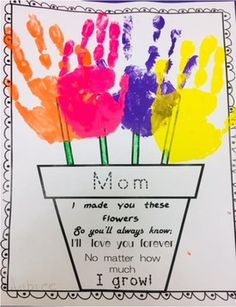 Mothers Day Crafts For Kids Discover Mothers Day Handprint Flower Pot Poem Mothers Day Crafts Preschool, Easy Mother's Day Crafts, Daycare Crafts, Fathers Day Crafts, Baby Crafts, Kids Crafts, Easy Mothers Day Crafts For Toddlers, Ideas For Mothers Day, Mothers Day Flower Pot