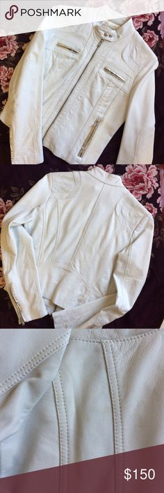 🔽SALE🔽 Italian white leather motorcycle jacket A MUST HAVE PIECE!!!  This beautiful genuine white Italian leather motorcycle with silver accents is screaming for attention!  Purchased in Forte Dei Marmi, Italy and barely worn. In like new condition! Small, barely noticeable stain on back (shown in 3rd photo). Jackets & Coats