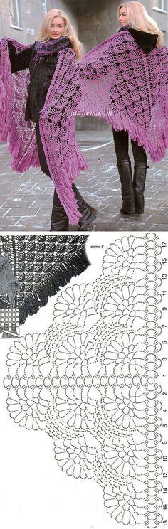 53 Ideas for crochet sweater wrap pattern prayer shawl Poncho Au Crochet, Crochet Bolero, Pull Crochet, Crochet Poncho Patterns, Crochet Motifs, Crochet Shawls And Wraps, Shawl Patterns, Crochet Diagram, Crochet Chart