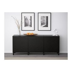 BESTÅ Storage combination with doors - black-brown/Laxviken black - IKEA