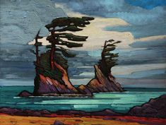 Sea Stacks on B. Coast, by Nicholas Bott Abstract Landscape, Landscape Paintings, Abstract Art, Contemporary Landscape, Canadian Painters, Canadian Artists, Painting Inspiration, Art Inspo, Group Of Seven Paintings