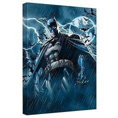 """Batman Canvas Wall Art   Stormy Dark Knight (16"""" X """"20)"""
