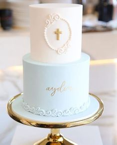 Beautiful capture of the christening cake I did for baby Ayden by - Kommunion - kuchen kindergeburtstag Boy Communion Cake, First Holy Communion Cake, Christening Cake Boy, Baby Boy Baptism, Boy Baptism Cakes, Boy Baptism Party, Simple Baptism Cake, Baptismal Cakes, Baptism Party Decorations