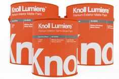 """""""In this packaging class students were instructed to either redesign an  existing architectural paint line or choose a brand or designer and invent  a paint line for them.Based on my love for strong simple mid century  designs, I chose Knoll as my inspiration and maker of a new line of paint  colors. The name is french and means """"light"""". The idea is that they only  make a very selected line of colors inspired by their textiles and color  choices through the decades. The tapered square…"""