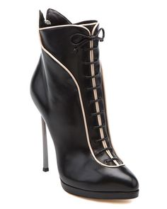 Casadei leather Victorian-eque ankle boot with stiletto heel, black with white accent trim