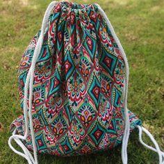 6 Colors Print Cotton Drawstring Gym Bag Backpacks