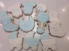 Carriage and Rattle Decorated Sugar Cookies by I Am the Cookie Lady