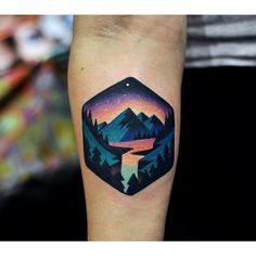 Tattoo by David Cote @thedavidcote #space #color #unique #nature #mountains #water