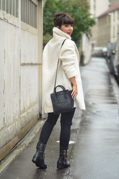 Charmeuse - White oversize coat, Céline Nano Luggage bag and rangers like boots - Hello it's Valentine