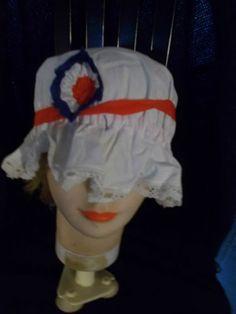 antique French tricolore mob cap