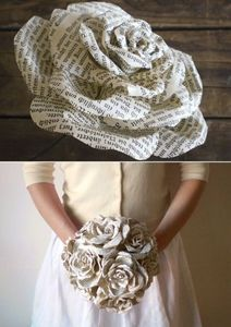 DIY wedding bouquet /// this is such a neat idea! Uh forget wedding bouquet I just want it as a decoration in my house lol How To Make Paper Flowers, Diy Flowers, Book Flowers, Real Flowers, Wedding Flowers, Flower Crafts, Bouquet Wedding, Book Page Flowers, Paper Flower Making