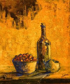 "Lalo Relinque - ""Bodegón con botella"" - Colección Texturas - T.Mixta.Lienzo - 55x46 cm"